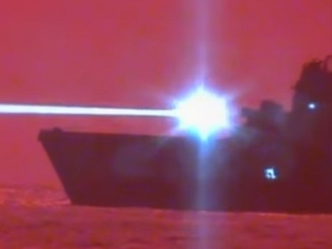 Watch a US Navy battleship take down a drone with a laser