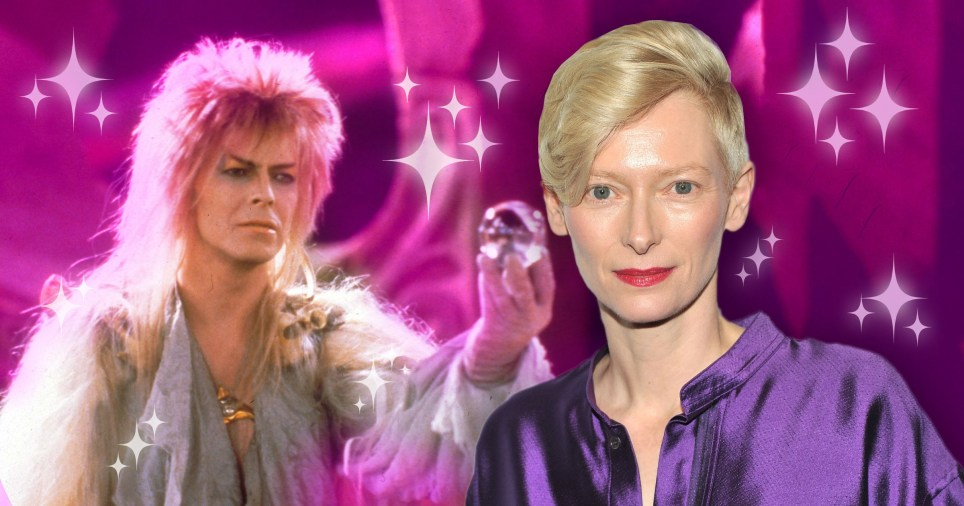 David Bowie in Labyrinth and Tilda Swinton.