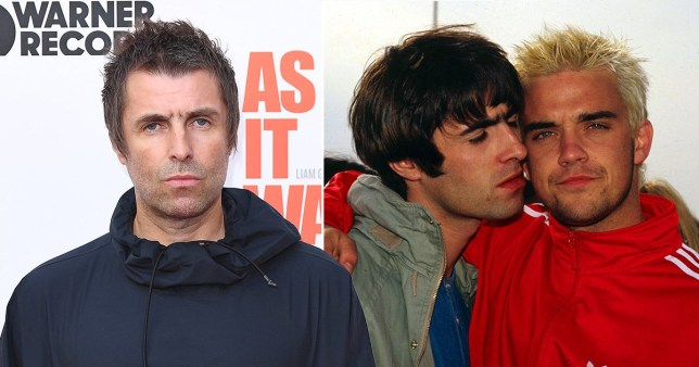 Liam Gallagher pictured alongside throwback picture of him and Robbie Williams in the 90s