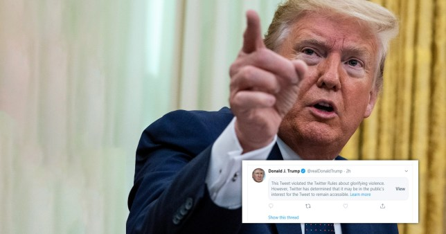 Twitter censors Donald Trump for glorifying violence