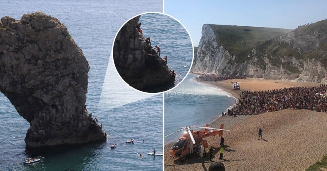Packed beach evacuated as four seriously injured jumping off cliffs into sea