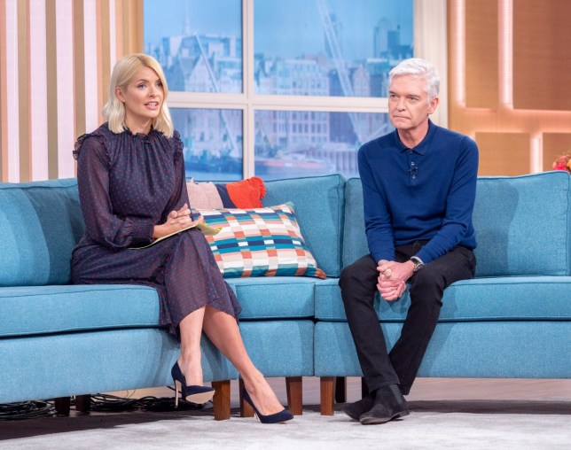 Editorial use only Mandatory Credit: Photo by S Meddle/ITV/REX (10550528f) Phillip Schofield and Holly Willoughby 'This Morning' TV show, London, UK - 07 Feb 2020