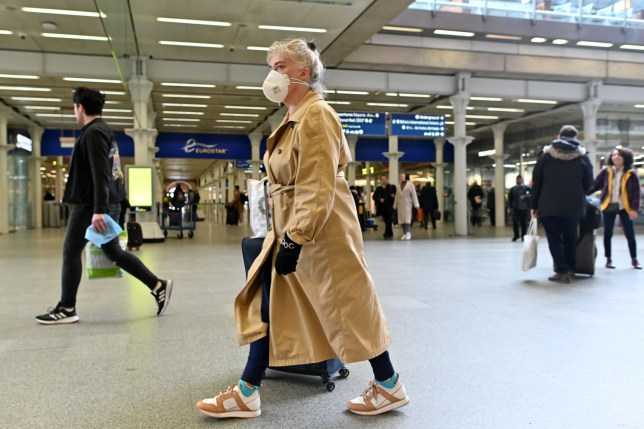 A woman wearing a protective face mask passes through the Eurostar terminal at St Pancras International