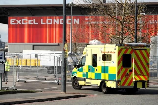 An ambulance arrives at NHS Nightingale hospital