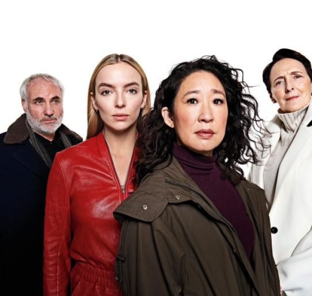 Programme Name: Killing Eve Series 3 - TX: 01/04/2020 - Episode: n/a (No. n/a) - Picture Shows: Konstantin (KIM BODNIA ), Villanelle (JODIE COMER), Eve (SANDRA OH), Carolyn Martens (FIONA SHAW) - (C) Sid Gentle - Photographer: Paola Kudacki
