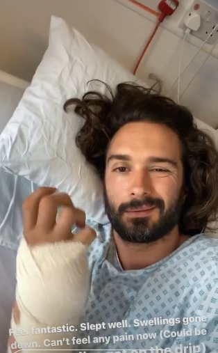 Joe Wicks gives update from hospital bed and vows he's 'back in the game' (Picture: Joe Wicks)