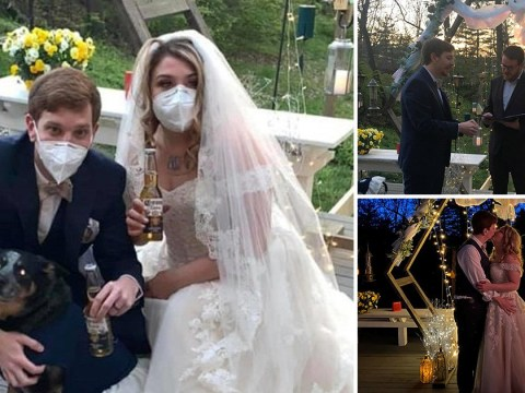 Couple marry in their garden with dogs as bridesmaids after wedding was cancelled