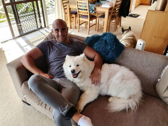 Barry McNeice dog sitting in New Zealand