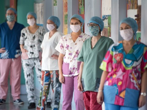 Nurses bring cheer to patients by wearing jazzy scrubs made from donated bedding