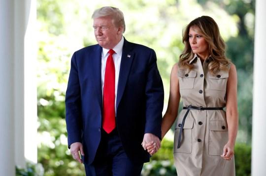 Le président Donald Trump et la première dame Melania Trump arrivent pour une journée nationale de prière à la Maison Blanche dans la roseraie de la Maison Blanche, le jeudi 7 mai 2020, à Washington. (Photo AP / Alex Brandon)