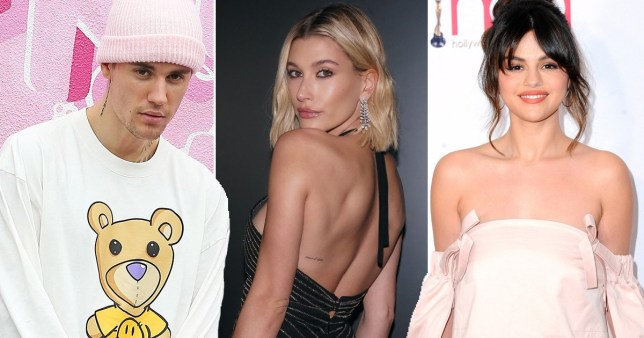 Justin Bieber, Hailey Baldwin and Selena Gomez pictured alongside each other