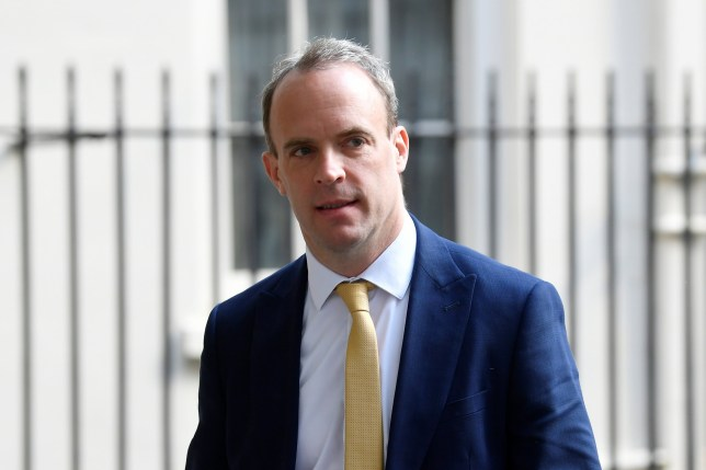 Britain's Secretary of State for Foreign affairs Dominic Raab leaves Downing Street in London, following the outbreak of the coronavirus disease (COVID-19), London, Britain May 11, 2020. REUTERS/Toby Melville