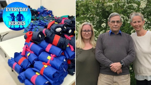 Bundles of scrubs that have been made by volunteers and Keith and his family
