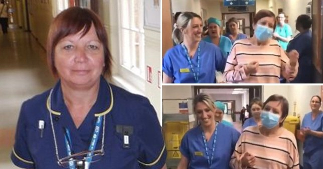 Emotional video of nurse being applauded as she leaves hospital after defeating corona (Picture: MEN Media)