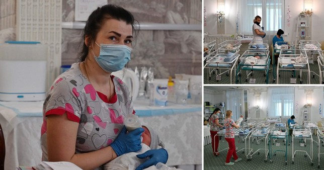 Over 100 babies born by surrogate mothers stuck in Kiev as their parents cannot travel to Ukraine to collect them (Picture: AFP)