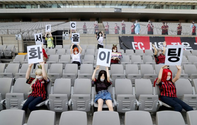 In a photo taken on May 17, 2020 mannequins are displayed at a FC Seoul football match in Seoul. - South Korean football club FC Seoul apologised May 18, 2020 after reports that it had used sex dolls to fill up its empty stands during a game at the weekend. (Photo by - / YONHAP / AFP) / - South Korea OUT / REPUBLIC OF KOREA OUT NO ARCHIVES RESTRICTED TO SUBSCRIPTION USE (Photo by -/YONHAP/AFP via Getty Images)