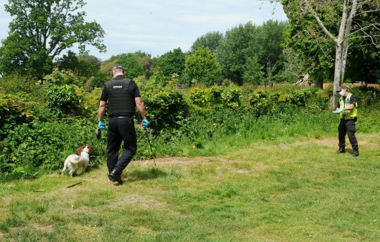 Police presence at Staunton Country Park near Havant, Hants this Sunday, 17th May as they widened their search for missing teenager Louise Smith.