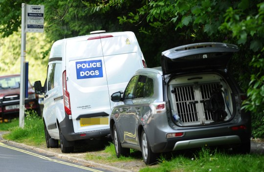 Police presence at Staunton Country Park near Havant, Hants this Sunday, 17th May as they widened their search for missing Louise Smith.
