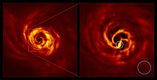 EMBARGOED TO 1300 WEDNESDAY MAY 20 Undated handout photo issued by the European Southern Observatory (ESO) showing the AB Aurigae system. The image on the right shows the inner region of the disc, including the bright yellow twist, circled in white. The twist lies at about the same distance from the star as Neptune from the Sun and blue circle represents the size of the orbit . Astronomers believe they may have found the first direct evidence of a new planet being born. PA Photo. Issue date: Wednesday May 20, 2020. A dense disc of dust and gas has been spotted surrounding a young star called AB Aurigae, around 520 light years away from Earth. See PA story SCIENCE Planet. Photo credit should read: ESO/PA Wire NOTE TO EDITORS: This handout photo may only be used in for editorial reporting purposes for the contemporaneous illustration of events, things or the people in the image or facts mentioned in the caption. Reuse of the picture may require further permission from the copyright holder.