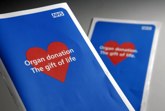 Two organ donor application leaflets