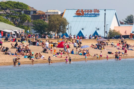 People on Southend Beach, Essex