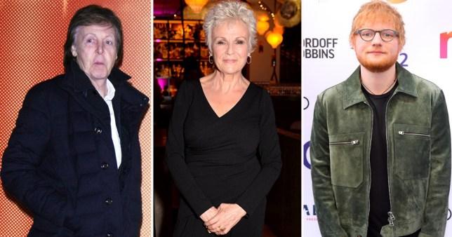 Paul McCartney, Julie Walters and Ed Sheeran