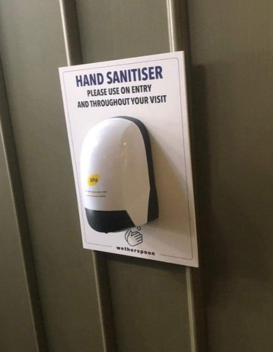 Hand sanitizer dispensers which will be installed in all Wehterspoons pubs when they reopen