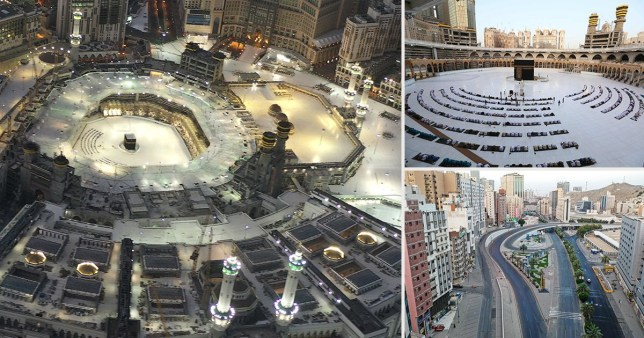 Grand Mosque in Mecca almost empty for Eid al-Fitr prayers (Picture: Getty, AFP)