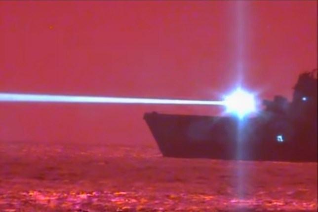 (Picture: U.S. Pacific Fleet) Watch as USS Portland - LPD 27 conducts a successful Laser Weapon System Demonstrator (LWSD) test and disables an unmanned aerial vehicle in the first system-level implementation of a high-energy class solid-state laser.