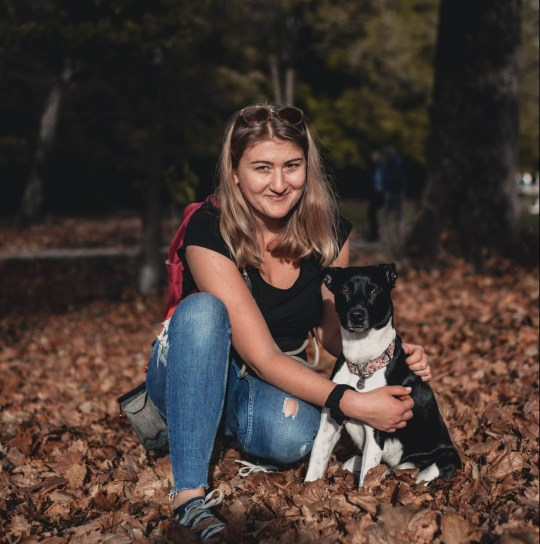 MERCURY PRESS. Munich, Germany. (Pictured: Rebecca Nadler, 26, with her vegan dog Ella.) The owner of a vegan dog says she eats the same food as her pampered pooch and claims swapping to a plant-based diet has cured her dogs fussy eating. Rebecca Nadler, 26, began feeding her beloved dog Ella, 3, an entirely plant-based diet two years ago, shortly after going vegan herself. The student from Munich, Germany prepares Ellas vegan meals from scratch, cooking up delicacies such as chickpea whole wheat pasta with coconut oil, lentils with sweet potato and flax seeds and fruit smoothies for her former rescue dog. (SEE MERCURY COPY).