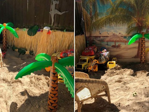 Mum makes beach in back garden for family who can't go on holiday