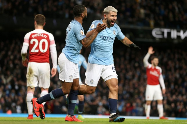 MANCHESTER, ENGLAND - FEBRUARY 03: Sergio Aguero of Manchester City celebrates after scoring his team's third goal with Raheem Sterling of Manchester City during the Premier League match between Manchester City and Arsenal FC at Etihad Stadium on February 2, 2019 in Manchester, United Kingdom. (Photo by Victoria Haydn/Manchester City FC via Getty Images)