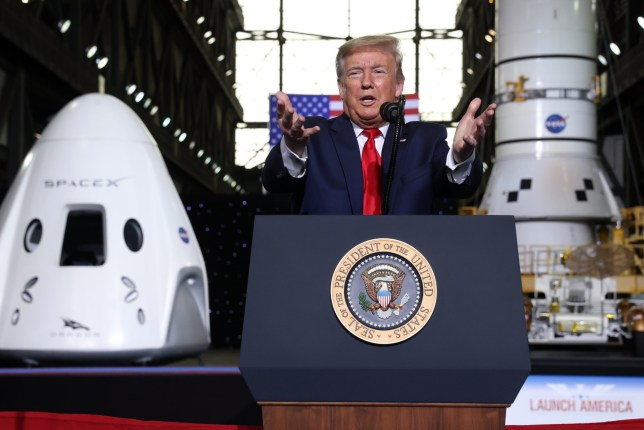 U.S. President Donald Trump speaks at a briefing after the launch of a SpaceX Falcon 9 rocket and Crew Dragon spacecraft on NASA's SpaceX Demo-2 mission to the International Space Station from NASA's Kennedy Space Center in Cape Canaveral, Florida, U.S. May 30, 2020. REUTERS/Jonathan Ernst