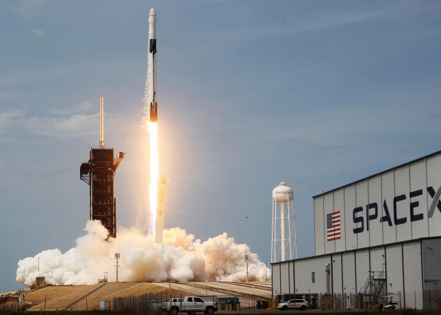 The SpaceX Falcon 9 rocket launching