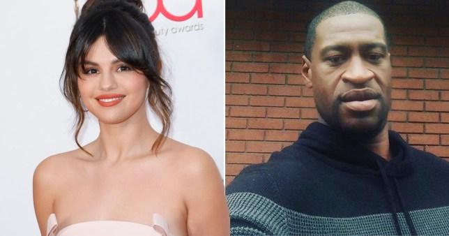 Selena Gomez pictured separately alongside George Floyd