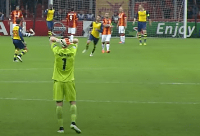 Wojciech Szczesny could not believe his eyes after Aaron Ramsey scored with his left foot from 35 yards out against Galatasaray in the Champions League