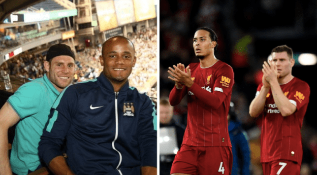 Liverpool star James Milner with Vincent Kompany and Virgil van Dijk