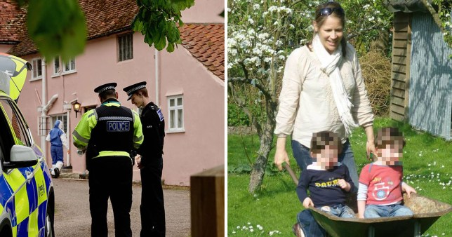 Silke Hartshorne-Jones with her twin sons (right) and police outside her farmhouse in Barham, near Ipswich, Suffolk, where she was shot dead