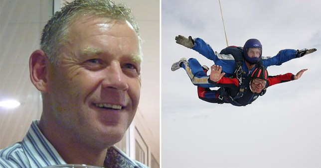 Pictures of Andrew Barton-Taylor, 60, including one of him sky diving. The builder from Crowthorne, Berkshire, hanged himself at home minutes after his partner of 11 years ended the relationship, an inquest heard