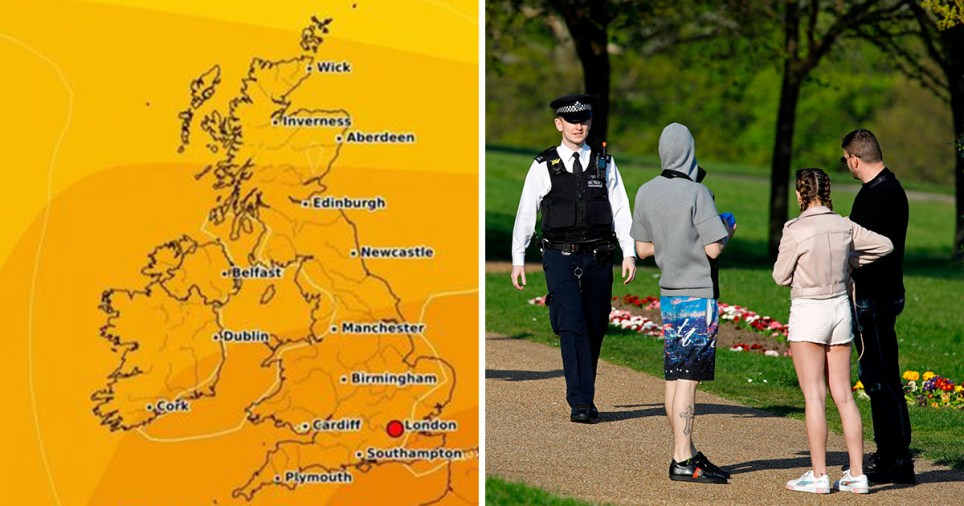 Map showing Britain set for temperatures of 26C on weekend after VE Day and police enforcing social distancing measures in a park
