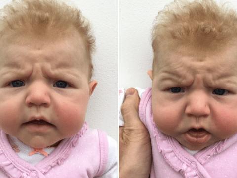 Baby's hilariously grumpy passport photos sum up this year so far