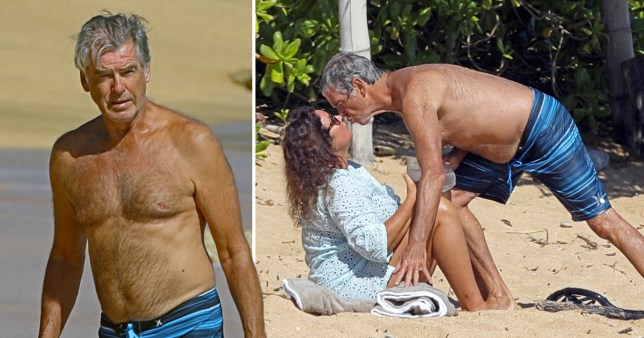 Pierce Brosnan shirtless on the beach in Hawaii and kissing wife Keely Shaye Smith