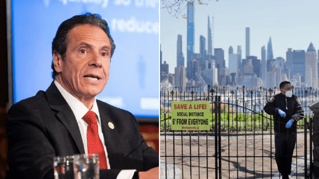 Photo of Andrew Cuomo next to photo of New York skyline