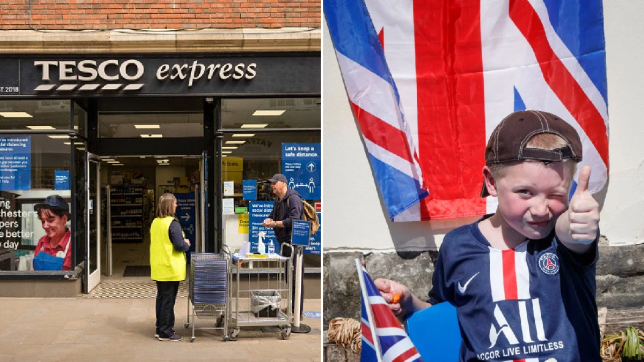 Tesco store and a young boy celebrating in front of Union Jack