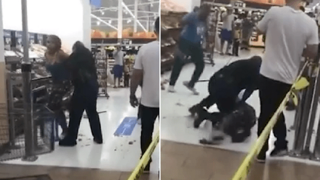 Grabs of woman getting slammed to supermarket floor for refusing to wear a mask