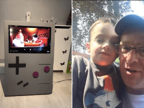 Dad creates amazing giant Game Boy for £40 – and it works