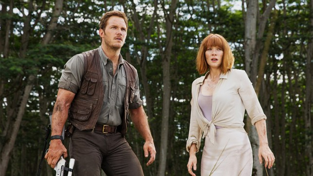 Jurassic World still featuring Chris Pratt and Bryce Dallas Howard