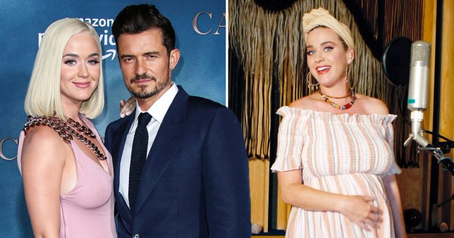 Katy Perry and Orlando Bloom pictured alongside Katy Perry holding her baby bump