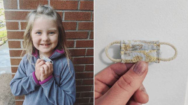 Evolette asked her mum to make a tiny mask (Picture: Kayla Westhouse)