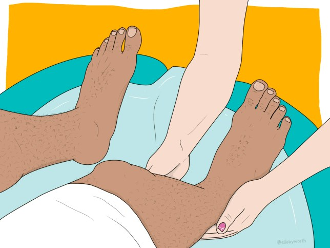 Illustration of someone touching a person's feet